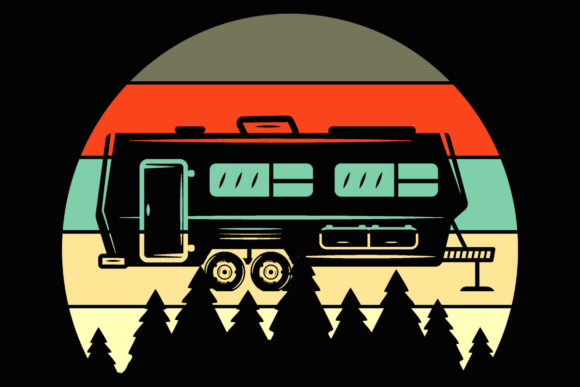 Print on Demand: Camper Retro Evergreen Sunset Clipart Graphic Illustrations By SunandMoon