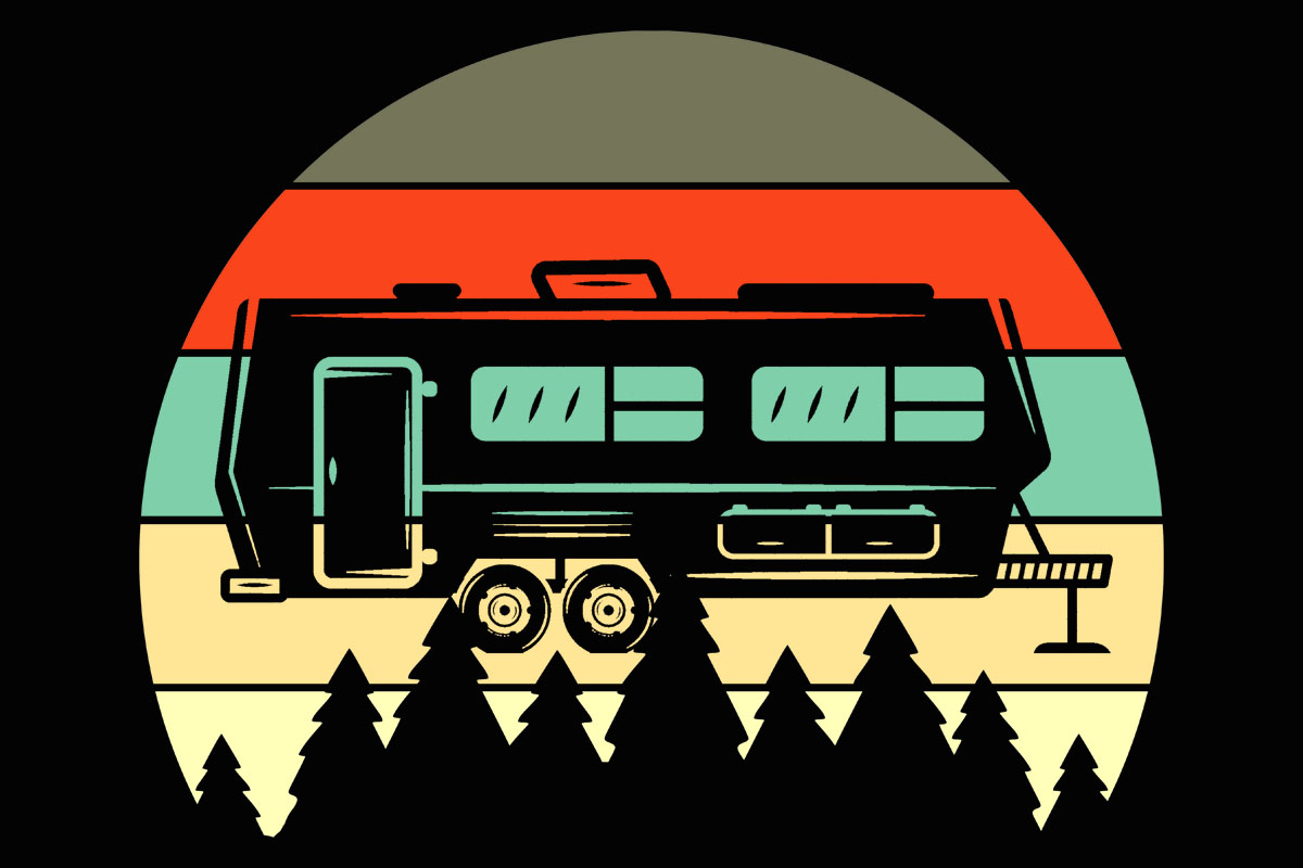 Download Free Camper Retro Evergreen Sunset Clipart Graphic By Sunandmoon for Cricut Explore, Silhouette and other cutting machines.