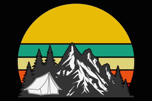 Download Free Camping Tent Mountain Trees Retro Sunset Graphic By Sunandmoon for Cricut Explore, Silhouette and other cutting machines.