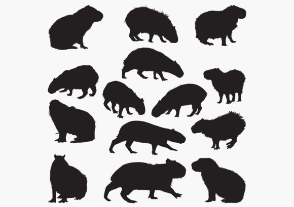 Capybara-animal Silhouettes Graphic Crafts By octopusgraphic