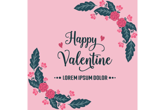 Card Template of Happy Valentine Graphic Backgrounds By stockfloral - Image 1