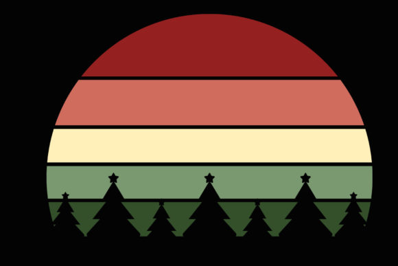 Print on Demand: Christmas Retro Vintage Sunset Clipart Graphic Illustrations By SunandMoon