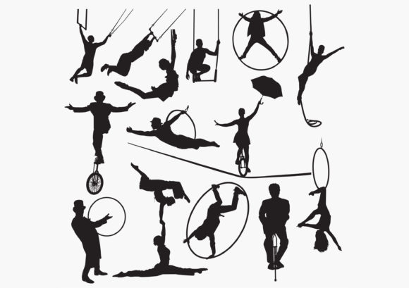 Download Free Circus Silhouettes Graphic By Octopusgraphic Creative Fabrica for Cricut Explore, Silhouette and other cutting machines.