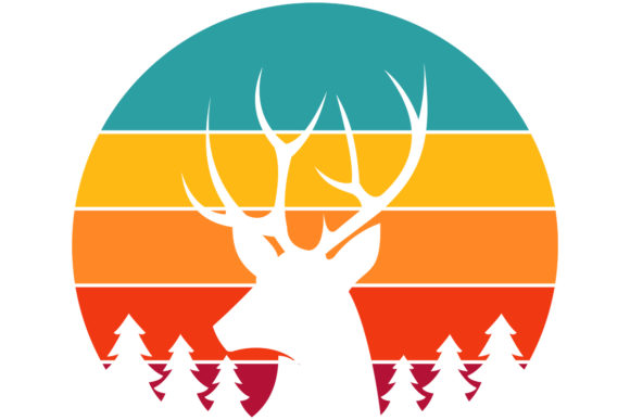 Print on Demand: Deer Buck Hunting Retro Vintage Sunset Graphic Logos By SunandMoon
