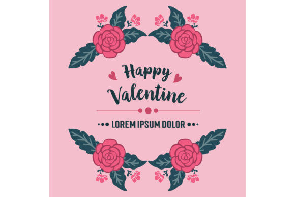 Download Free Elegant Banner Template Happy Valentine Graphic By Stockfloral for Cricut Explore, Silhouette and other cutting machines.