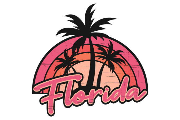 Print on Demand: Florida Sunset Palm Trees Pink Stressed Graphic Illustrations By SunandMoon