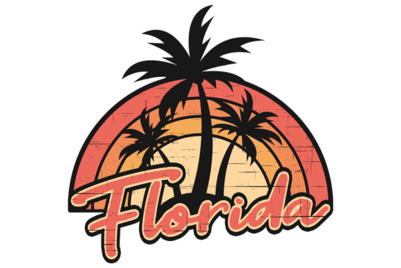 Download Free Florida Sunset Retro Palm Trees Stressed Graphic By Sunandmoon for Cricut Explore, Silhouette and other cutting machines.