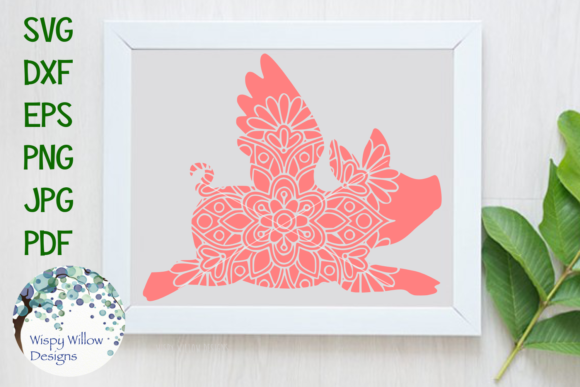 Download Free Flying Pig Mandala Graphic By Wispywillowdesigns Creative Fabrica for Cricut Explore, Silhouette and other cutting machines.