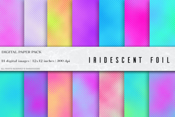 Foil Iridescent Digital Papers Graphic Textures By BonaDesigns