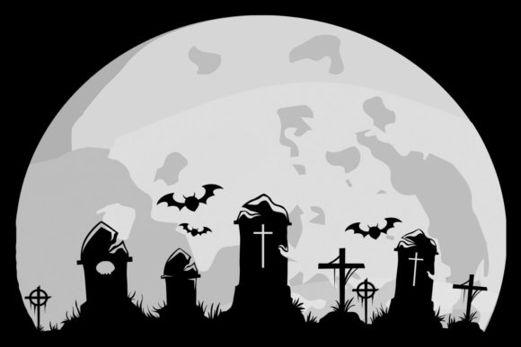Download Free Full Moon Graveyard Halloween Clipart Graphic By Sunandmoon for Cricut Explore, Silhouette and other cutting machines.