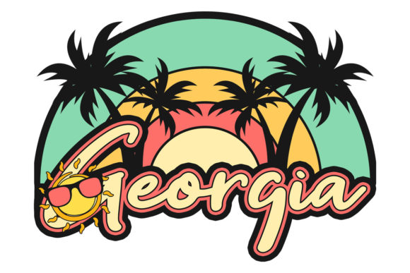 Download Free Georgia Beach Palm Trees Retro Sunset Graphic By Sunandmoon for Cricut Explore, Silhouette and other cutting machines.