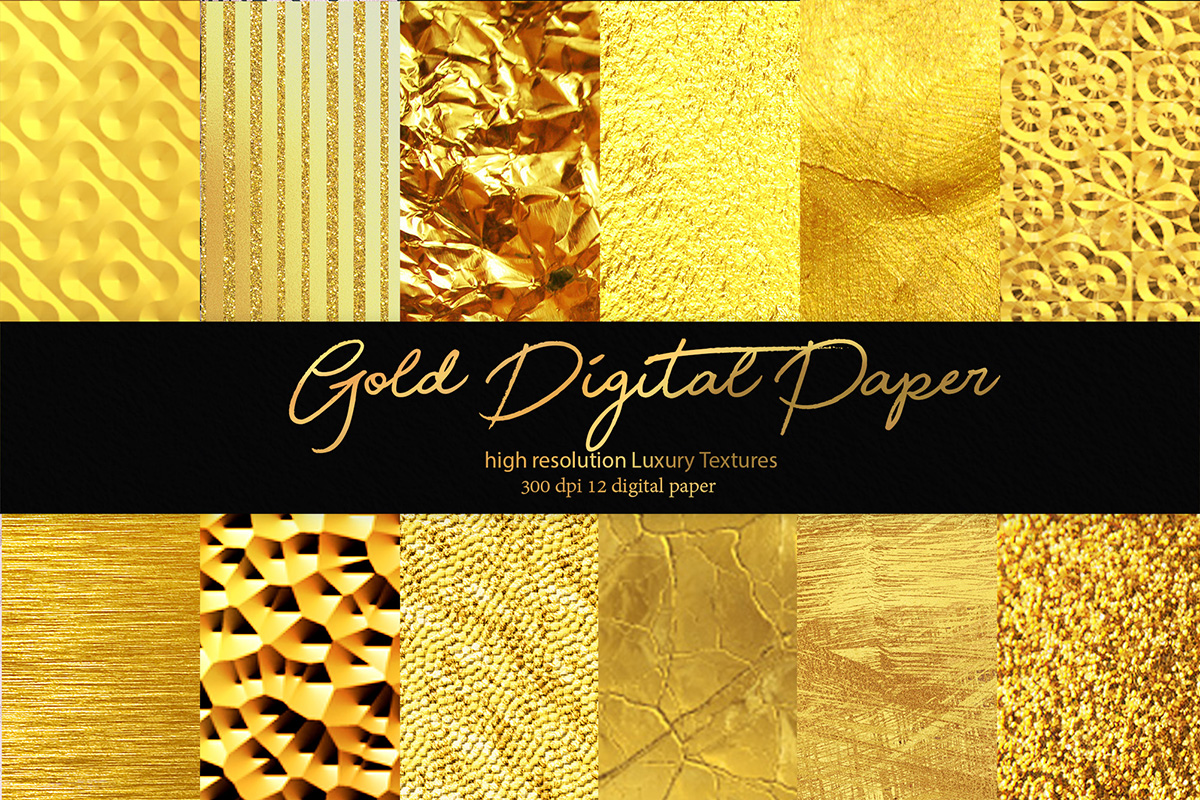 Download Free Gold Digital Paper Graphic By Siriustr Creative Fabrica for Cricut Explore, Silhouette and other cutting machines.