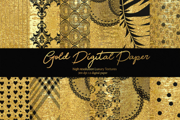Gold Digital Paper Graphic Textures By DAYDESIGN
