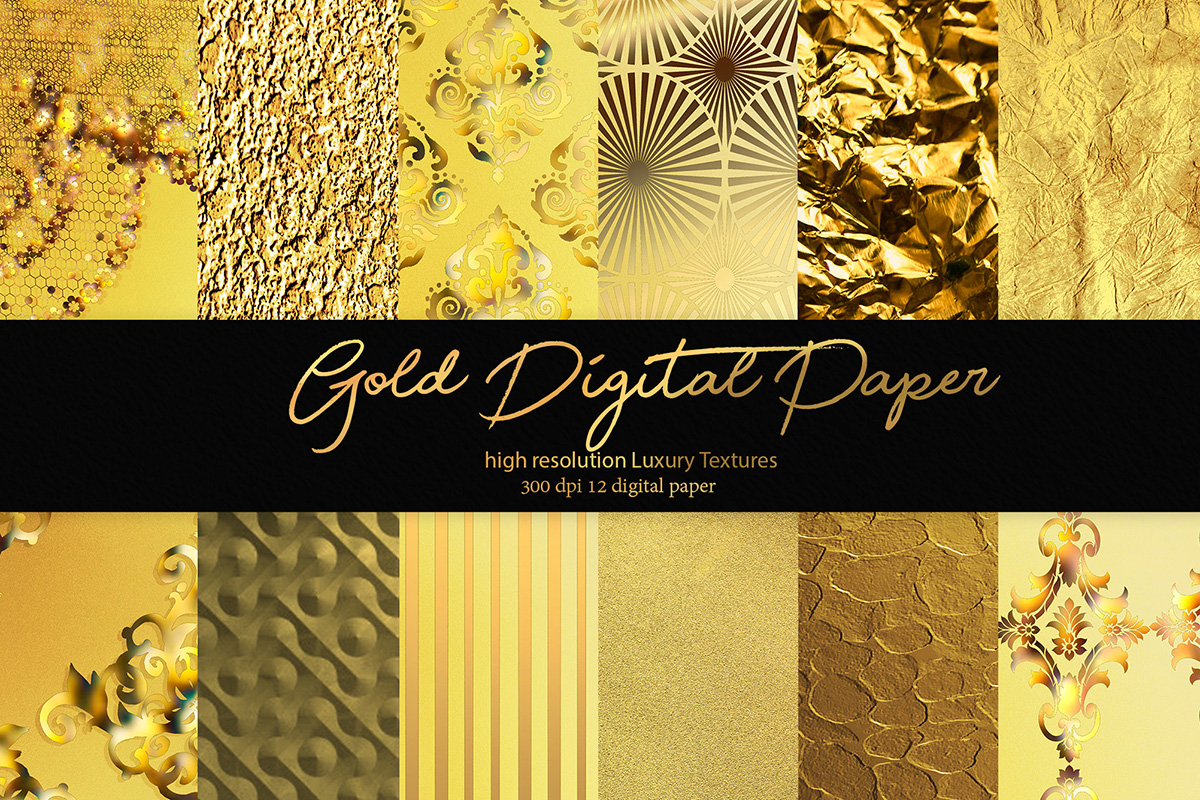 Download Free Gold Digital Paper Graphic By Daydesign Creative Fabrica for Cricut Explore, Silhouette and other cutting machines.