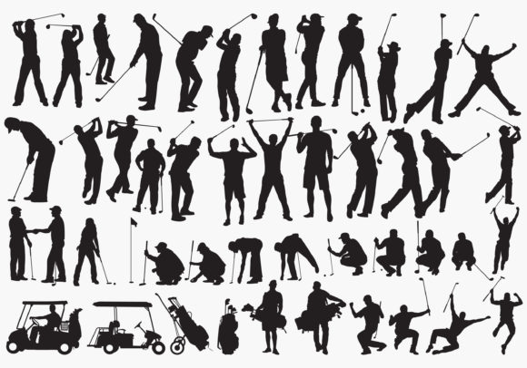 Golfers Silhouettes Graphic Crafts By octopusgraphic
