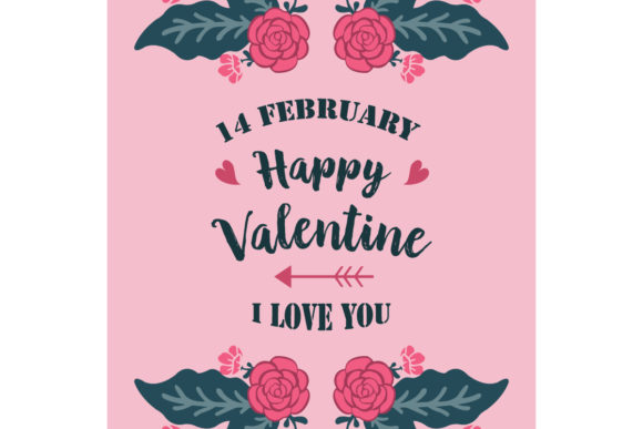 Happy Valentine Card with Elegant Style Graphic Backgrounds By stockfloral
