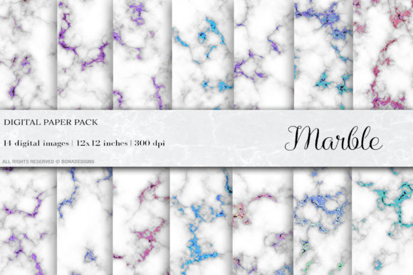 Marble Iridescent Digital Papers Graphic Backgrounds By BonaDesigns - Image 1