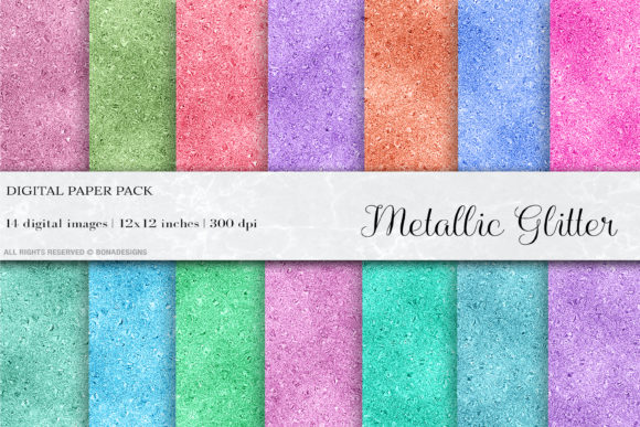 Metallic Glitter Digital Papers Graphic Backgrounds By BonaDesigns