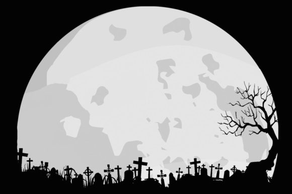 Print on Demand: Moon Graveyard Halloween Lunar Clipart Graphic Illustrations By SunandMoon