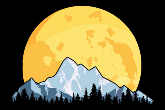 Download Free Moon Snow Mountains Trees Yellow Clipart Graphic By Sunandmoon for Cricut Explore, Silhouette and other cutting machines.