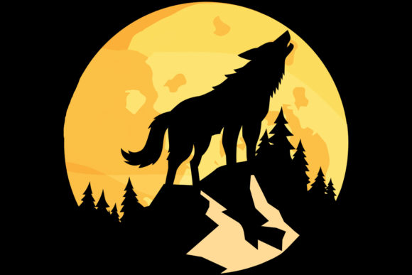 Print on Demand: Moon Wolf Howling Mountain Trees PNG Graphic Logos By SunandMoon - Image 1