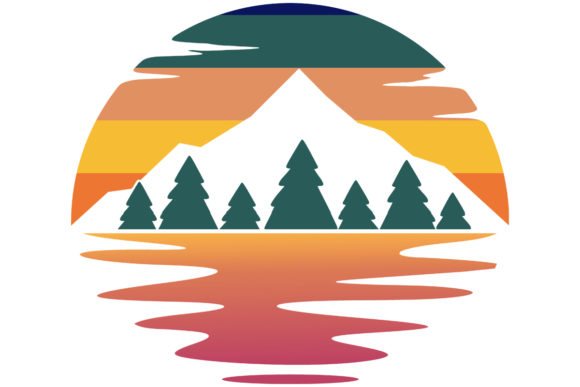 Print on Demand: Mountain Adventure Retro Vintage Sunset Graphic Logos By SunandMoon