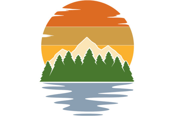 Print on Demand: Mountain Lake Retro Vintage Sunset Graphic Logos By SunandMoon