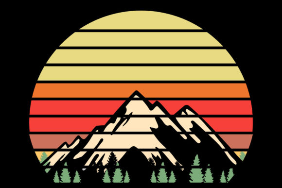 Print on Demand: Mountains Trees Retro Sunset Clipart Graphic Illustrations By SunandMoon