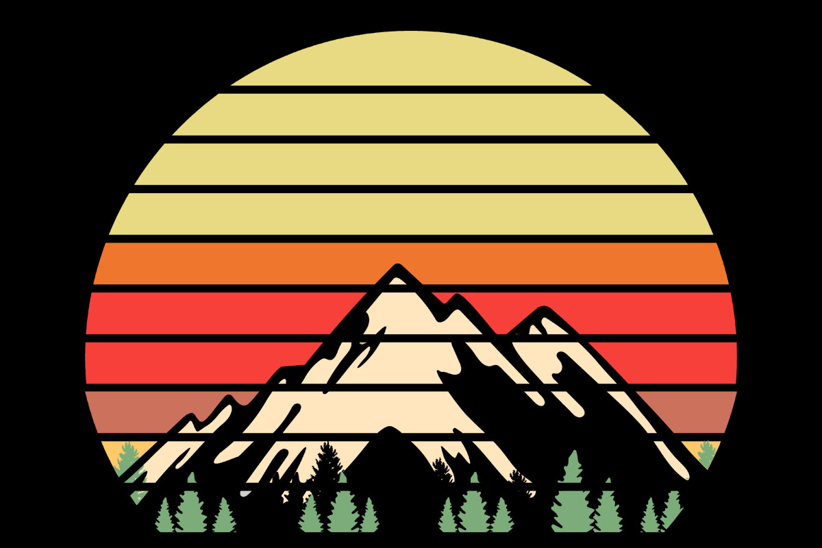 Download Free Mountains Trees Retro Sunset Clipart Grafico Por Sunandmoon for Cricut Explore, Silhouette and other cutting machines.