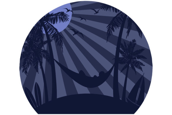 Print on Demand: Night Time Beach Retro Vintage Moon Graphic Logos By SunandMoon - Image 1