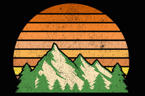 Print on Demand: Retro Mountain Sunset Evergreen Clipart Graphic Illustrations By SunandMoon