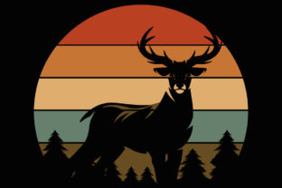Print on Demand: Retro Sunset Buck Deer Hunting Clipart Graphic Illustrations By SunandMoon