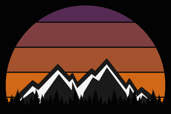 Print on Demand: Retro Sunset Snow Mountains Clipart Graphic Illustrations By SunandMoon