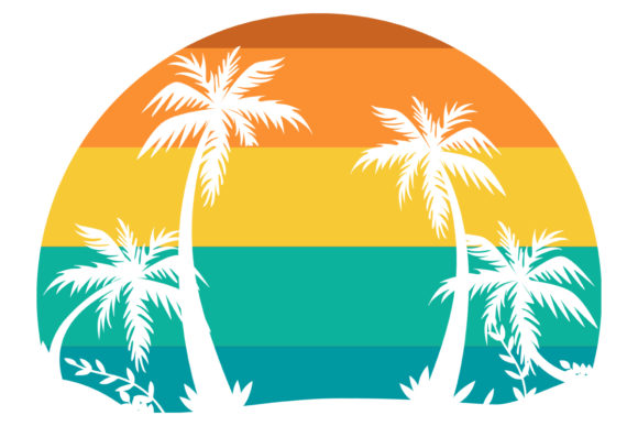 Print on Demand: Retro Vintage Sunset Beach Palm Tree PNG Graphic Logos By SunandMoon - Image 1