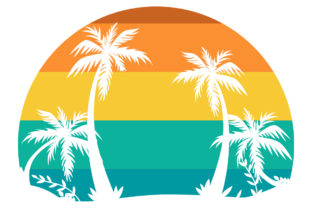 Print on Demand: Retro Vintage Sunset Beach Palm Tree  Graphic Logos By SunandMoon