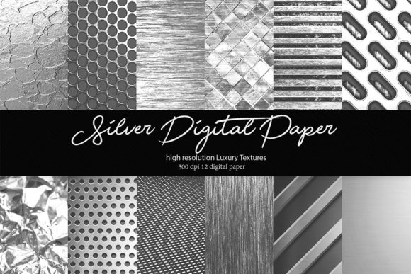 Silver Digital Paper Graphic Textures By DAYDESIGN