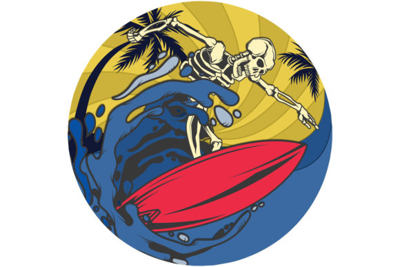 Print on Demand: Skeleton Surfer Retro Vintage Sunset PNG Graphic Logos By SunandMoon - Image 1