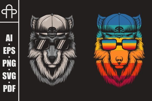 Wolf Cool Retro Illustration Graphic Illustrations By Andypp