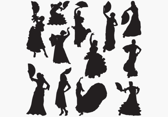 Download Free Woman Dancing Flamenco Silhouettes Graphic By Octopusgraphic for Cricut Explore, Silhouette and other cutting machines.