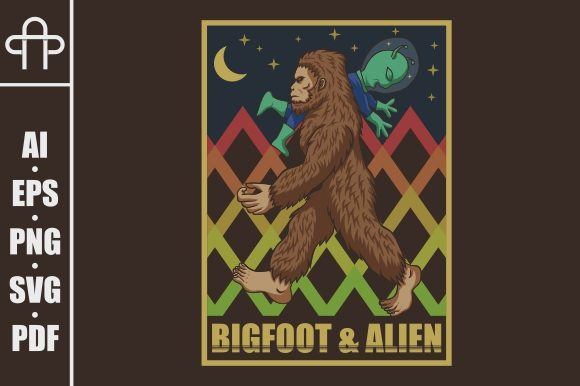 Bigfoot and Alien Grafik Illustrationen von Andypp