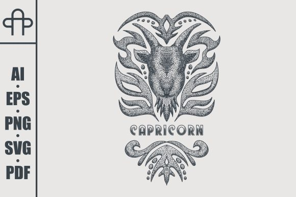 Print on Demand: Capricorn Vintage Graphic Illustrations By Andypp