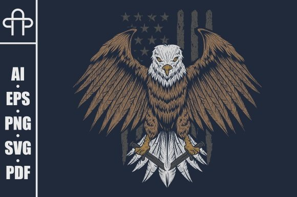Download Free Eagle Usa Flag Illustration Graphic By Andypp Creative Fabrica for Cricut Explore, Silhouette and other cutting machines.