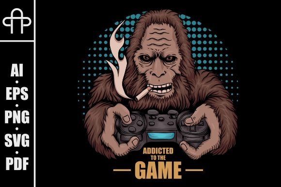 Print on Demand: Game Addicted Bigfoot Illustration Graphic Illustrations By Andypp