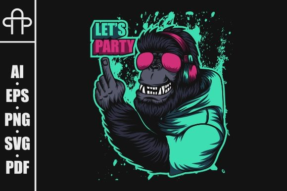 Gorilla Headphone Party Illustration Graphic Illustrations By Andypp