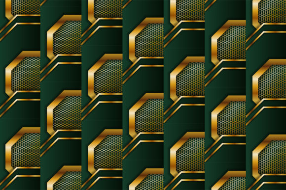 Print on Demand: Green Gold Geometric Pattern Background Graphic Patterns By noory.shopper
