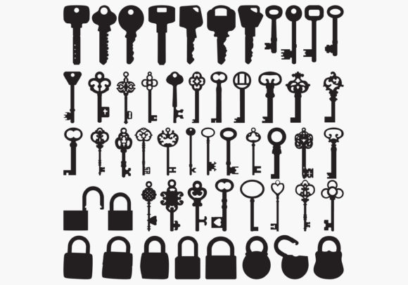 Keys Silhouettes Graphic Crafts By octopusgraphic