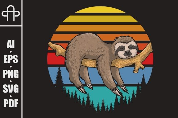 Print on Demand: Lazzy Sloth Retro Sunset Illustration Graphic Illustrations By Andypp