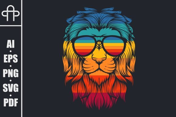 Print on Demand: Lion Retro Eyeglasses Illustration Graphic Illustrations By Andypp