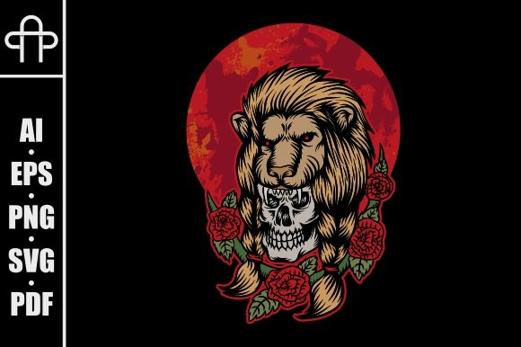 Download Free Lion Skull Head Red Moon Illustration Graphic By Andypp for Cricut Explore, Silhouette and other cutting machines.