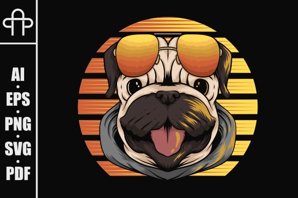 Print on Demand: Pug Dog Retro Sunset Illustration Graphic Illustrations By Andypp